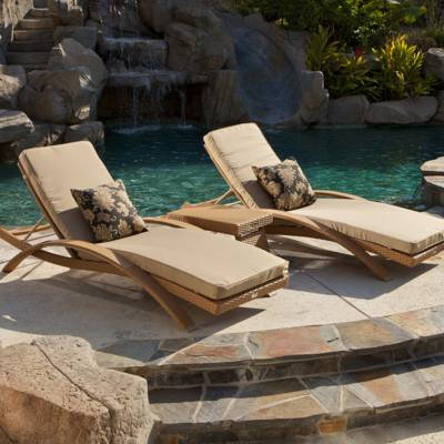 Delano Arc Lounger Cushion Set (2pk) - Beige Cushions with Carbon Jacquard Sunbrellar accents