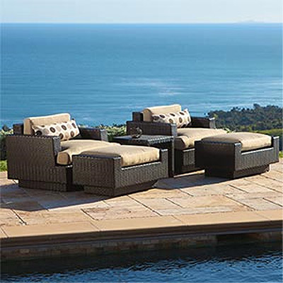 Portofino Club Chair with Ottoman and Table - 2 pack