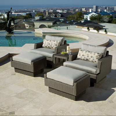 ... New Portofino Grey Club Chair with Ottoman and Table - 2 pack