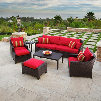 Cantina 7 Pc Sofa Club Chair Ottoman Side Coffee Table Seating Set Outdoor Furniture Store