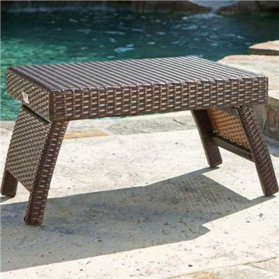 Lounger Side Table - Espresso Rattan