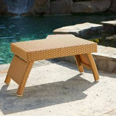 Lounger Side Table - Camel Rattan