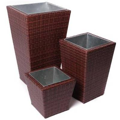 Woven Planter Set - 3 pc with ZINC coated planter inserts