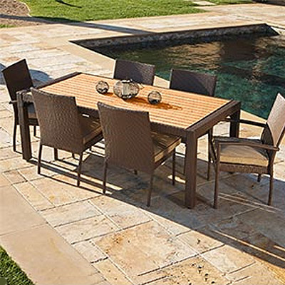 Portofino 7 pc Woven Outdoor Dining Set