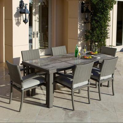 New Portofino Grey 7 PC Woven Outdoor Dining Set ...