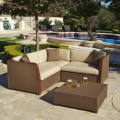 luxe 4 pc modular l shaped sling sofa with coffee table